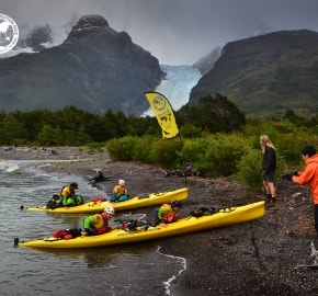 Team Expedition through Chilean Patagonia; Kayak Expedition; Team Merrell Adventure Addicts; Glacier Balmaceda; Patagonian Expedition Race 2016 in Patagonia, Chile